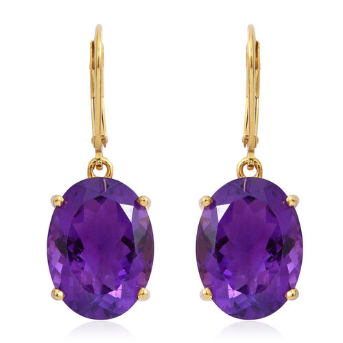 Amethyst (Ovl) Lever Back Earrings in 14K Gold Overlay Sterling Silver 15.500 Ct.