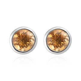 Citrine Stud Earrings (with Push Back) in Platinum Overlay Sterling Silver 1.50 Ct.