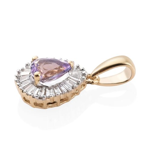 One Time Deal - 14K Y Gold AA Pink Tanzanite (Pear), Diamond (I2-I3 G-H) Pendant 0.500 Ct.