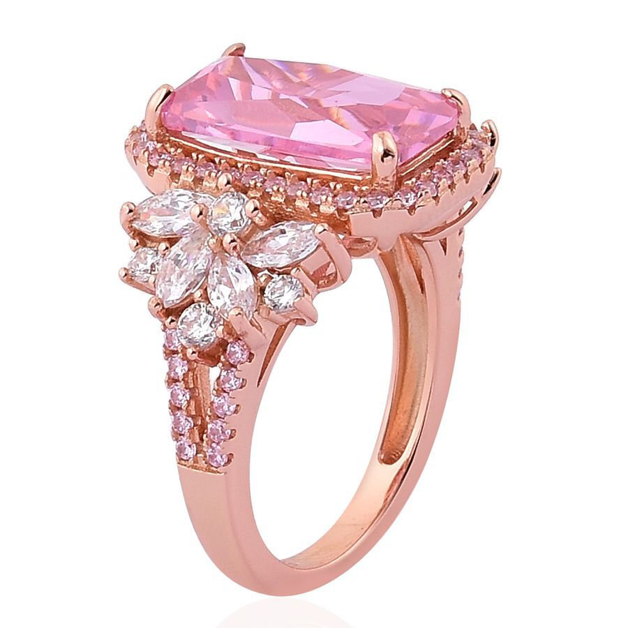 ELANZA AAA Simulated Pink Sapphire and Simulated White Diamond Ring ...