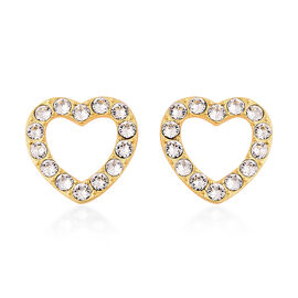 J Francis - Crystal from Swarovski White Crystal (Rnd) Heart Stud Earrings (with Push Back) in Yello