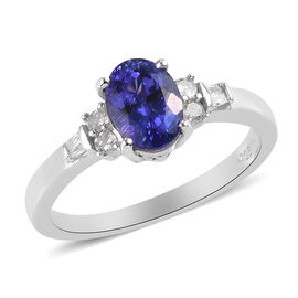 AAA Tanzanite and Diamond Ring in Platinum Overlay Sterling Silver 1.25 Ct.