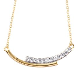 J Francis - 14K Gold Overlay Sterling Silver Necklace (Size 18) Made with SWAROVSKI ZIRCONIA