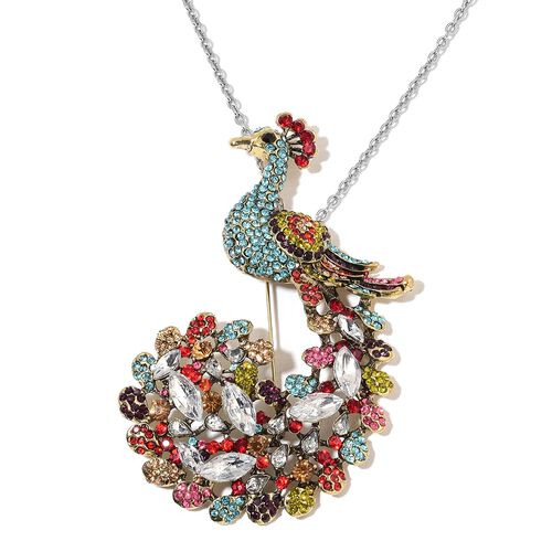 Multicolor Austrain Crystal Peacock Brooch or Pendant with Chain in Stainless Steel 24 Inch