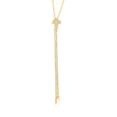 Designer Inspired AAA Austrian Crystal Adjustable Cross Lariat Necklace (Size 36) in Gold Bond