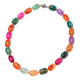 Designer Inspired- One Time Deal Multi Colour Agate Necklace (Size 19) with Magnetic Lock