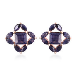 Isabella Liu Floral Collection - Masoala Sapphire Stud Earrings (with Push Back) in Rose Gold Overla
