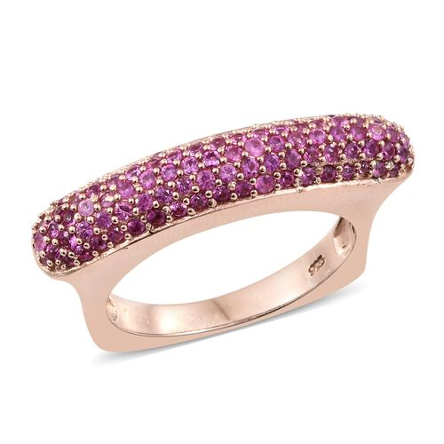 Designer Inspired-Pink Sapphire (Rnd) Ring in Rose Gold Overlay Sterling Silver 1.750 Ct. Silver wt. 6.46 Gms. Number of Gemstone 100