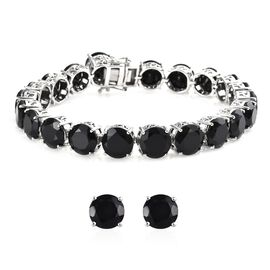 2 Piece Set 70 Ct Boi Ploi Black Spinel Tennis Bracelet and Stud Earrings in Platinum Plated Silver