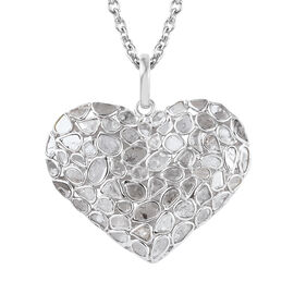 2 Ct Polki Diamond Heart Pendant with Chain in Rhodium Plated Sterling Silver 6.60 Grams 20 Inch