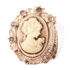 Cameo 30x22mm and Champagne Colour Austrian Crystal Brooch in Gold Tone