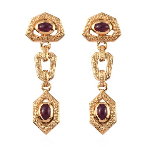 African Ruby Dangle Earrings (with Push Back) in 14K Gold Overlay Sterling Silver 2.75 Ct, Silver wt