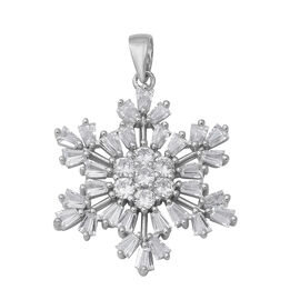 ELANZA Simulated Diamond Snowflake Pendant in Rhodium Plated Silver