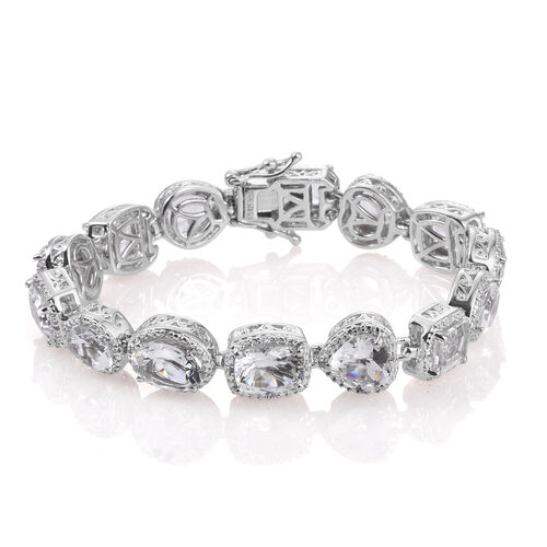 White Topaz and Natural Cambodian Zircon Bracelet (Size 8.0) in Platinum Overlay Sterling Silver 24.186 Ct. Silver wt. 30.00 Gms.