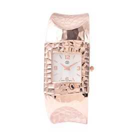 STRADA Japanese Movement Water Resistance Cuff Bangle Watch (Size 6-6.5) in Rose Gold Plated Stainle