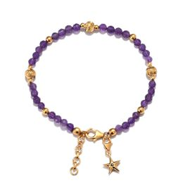 GP - Amethyst (Rnd), Madagascar Blue Sapphire Charm Bracelet (Size 7.5 with 1 inch Extender) with Lo