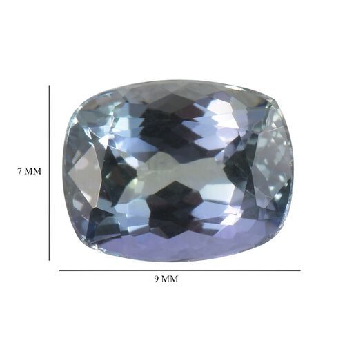 AA Peacock Tanzanite Cushion 9x7 Faceted 1.76 Cts
