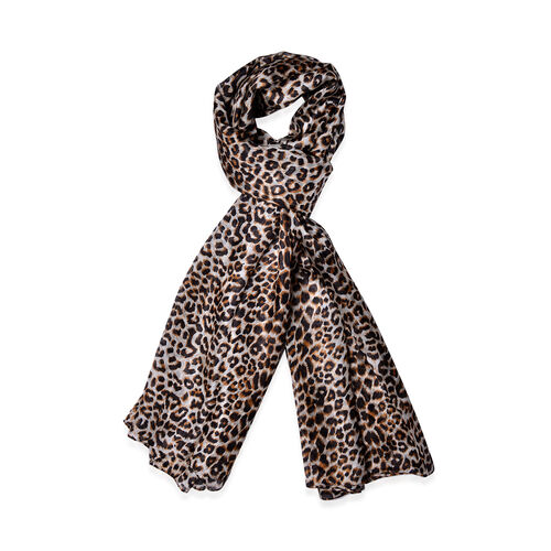 100% Mulberry Silk Leopard Pattern Black and Chocolate Colour Scarf (Size 170x110 Cm)