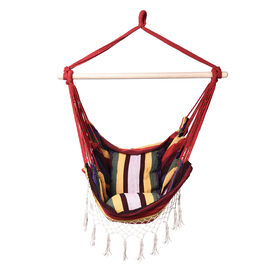 Striped Hanging Rope Hammock Swing Seat with 2 Cushions (Size 100x130 cm) - Red and Multi Colour