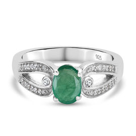 Premium Emerald and Natural Cambodian Zircon Ring in Platinum Overlay Sterling Silver