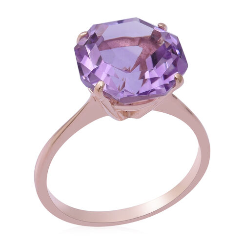 OCTILLION CUT Rose De France Amethyst Solitaire Ring in Rose Gold Overlay Sterling Silver 6.52 Ct.