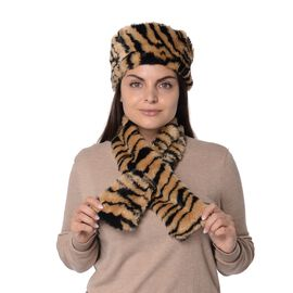 2 Piece Set - Tiger Pattern Faux Fur Winter Scarf (Size 11.5x92 Cm) and Cossack Hat (Size 58 Cm) - B
