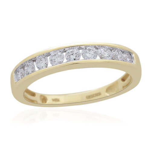 9K Yellow Gold SGL CERTIFIED Diamond (Rnd) (I3/G-H) Half Eternity Ring 0.500 Ct.