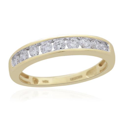 9K Yellow Gold SGL CERTIFIED Diamond (Rnd) (I3/G-H) Half Eternity Ring 0.500 Ct.