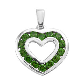 Russian Diopside (Rnd) Heart Pendant in Platinum Overlay Sterling Silver 1.500 Ct.