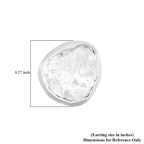 Artisan Crafted Polki Diamond Stud Earrings (with Push Back) in Platinum Overlay Sterling Silver 0.25 Ct.