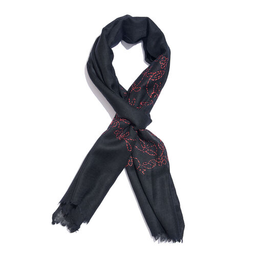 TJC SPECIAL- HAND MADE KANTHA Embroidered 100% Merino Wool Black and Pink Scarf with Fringes (Size 1