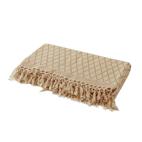100% Cotton Hand Woven Off Whtie, Beige and Latte Colour Phulkari Style Bedcover with Fringes (Size 270x220 Cm)