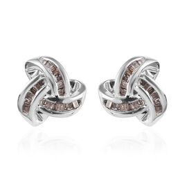 Champagne Diamond Triple Knot Stud Earrings (with Push Back) in Platinum Overlay Sterling Silver 0.2