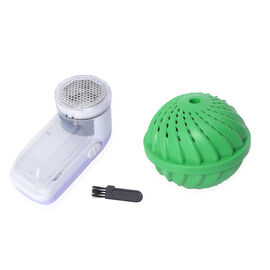 2 Piece Set - Lint Shaver with Washing Ball - Purple and Green (2xAA Battery not Included)
