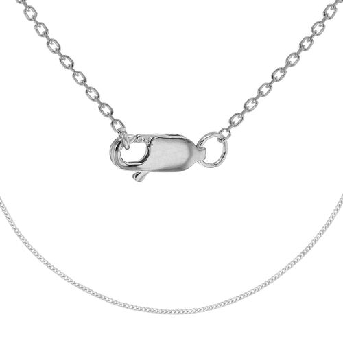 Sterling Silver Adjustable Curb Chain (Size 18 with Extender)