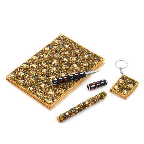 Golden Glitter Bead Decorated Set of Diary (Size 12.7 Cm), Key Chain  and Pen