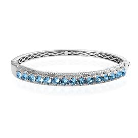 J Francis Aquamarine Crystal from Swarovski Stacker Bangle in Platinum Plated 7.5 Inch
