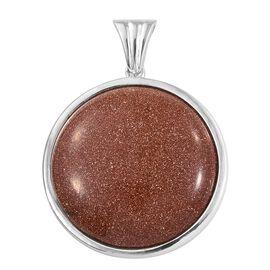 Gold Sandstone (Rnd 25 mm) Pendant in Sterling Silver, Silver wt 5.00 Gms.
