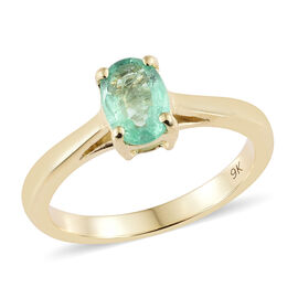9K Yellow Gold AA Boyaca Colombian Emerald (Ovl) Solitaire Ring 0.700  Ct