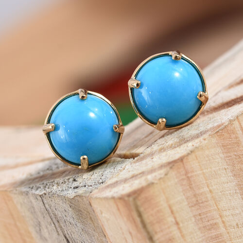 ILIANA 18K Yellow Gold Arizona Sleeping Beauty Turquoise (Rnd 8 mm) Stud Earrings (with Screw Back) 3.700 Ct.