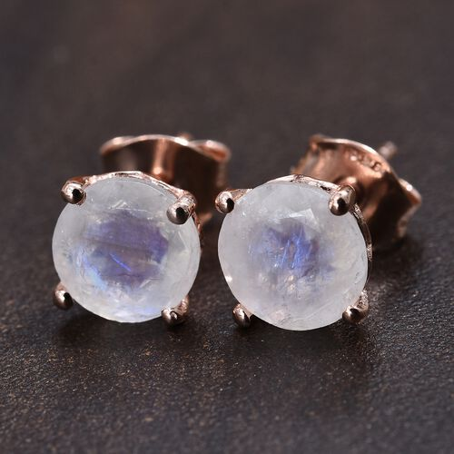 Rainbow Moonstone (Rnd) Stud Earrings (with Push Back) in Rose Gold Overlay Sterling Silver 2.750 Ct.