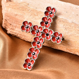 TJC Poppy Design - Black Austrian Crystal Enamelled Poppy Flower Cross Brooch in Silver Tone