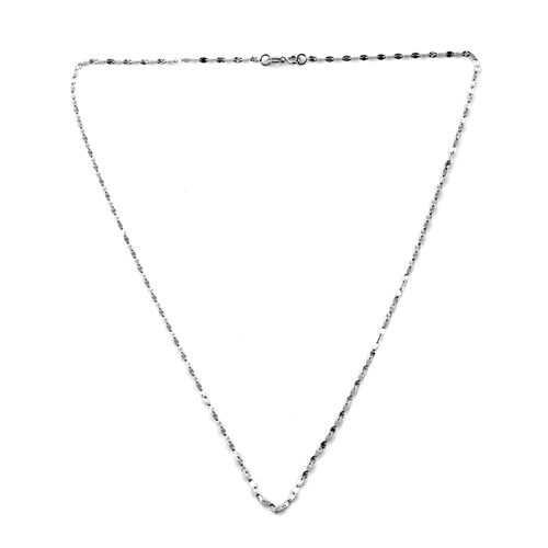 Close Out Deal - Royal Bali Collection 9K White Gold Diamond Cut Sparkle Necklace (Size 18)