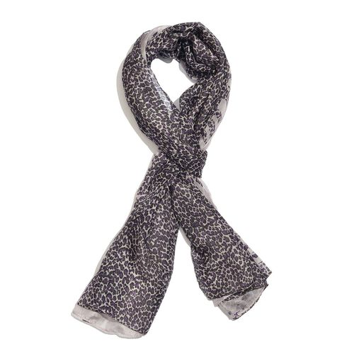 100% Mulberry Silk Violet, Black and White Colour Handscreen Leopard Printed Scarf (Size 200X180 Cm)