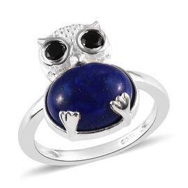 Lapis Lazuli (Ovl 11x9 mm),Boi Ploi Black Spinel Owl Ring (Size R) in Sterling Silver 4.75 Ct.