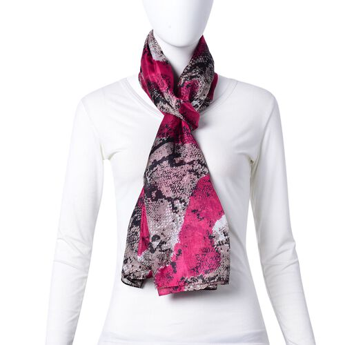 100% Mulberry Silk Rose Red, Grey and Black Colour Snake Pattern Scarf (Size 180X110 Cm)