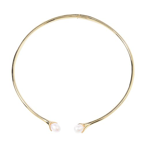 LucyQ Freshwater White Pearl Necklace in Gold Plated Silver 46.40 Grams