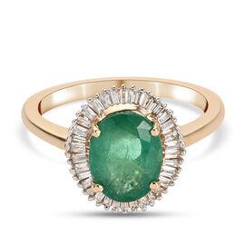 DOD - ILIANA 18K Yellow Gold AAA Premium Kagem Zambian Emerald and Diamond Ring 2.00 Ct.