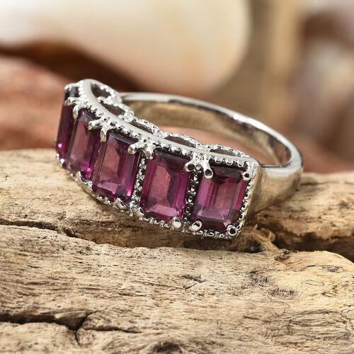 Rhodolite Garnet (Oct) Five Stone Ring in Stainless Steel