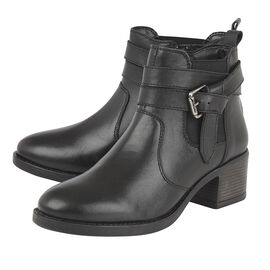 Lotus Black Leather Janet Ankle Boots (Size 3)